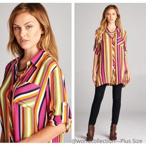 Plus Size Striped Short Sleeved Tunic